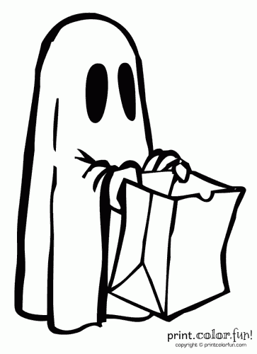 Halloween ghost costume coloring page - Print. Color. Fun!