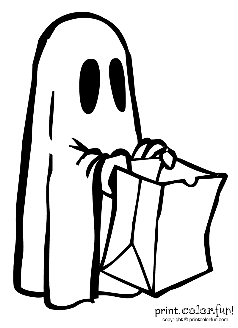 Simple halloween ghost coloring pages