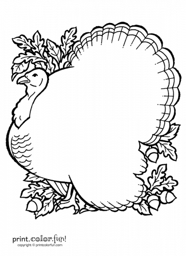 Thanksgiving turkey printable page