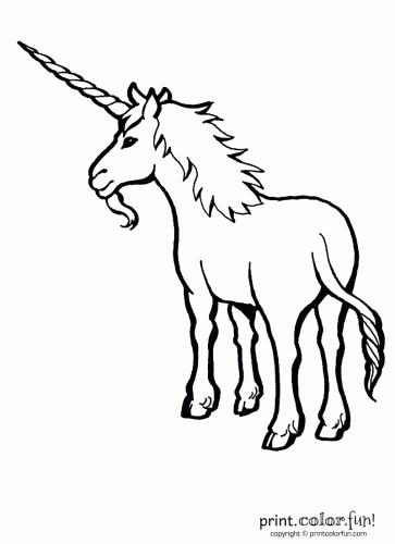 Bearded unicorn coloring page Print Color Fun