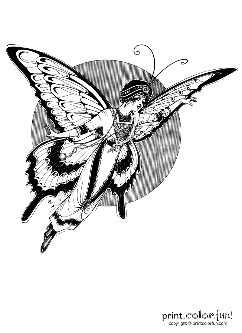 Vintage woman fairy butterfly coloring page Print