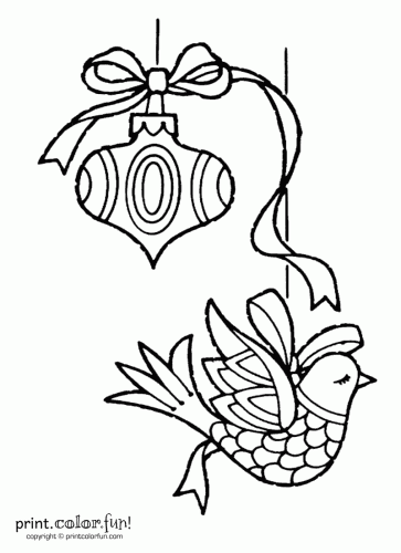 Two Christmas Ornaments Coloring Page