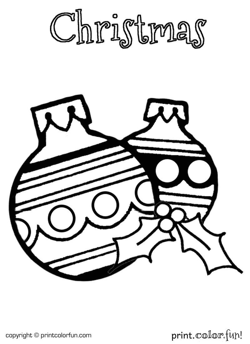 Holly And Christmas Ornaments Coloring Page